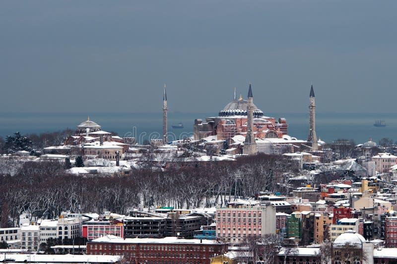Vista de Hagia Sophia Ä°stanbul da torre de Galata imagem de stock royalty free