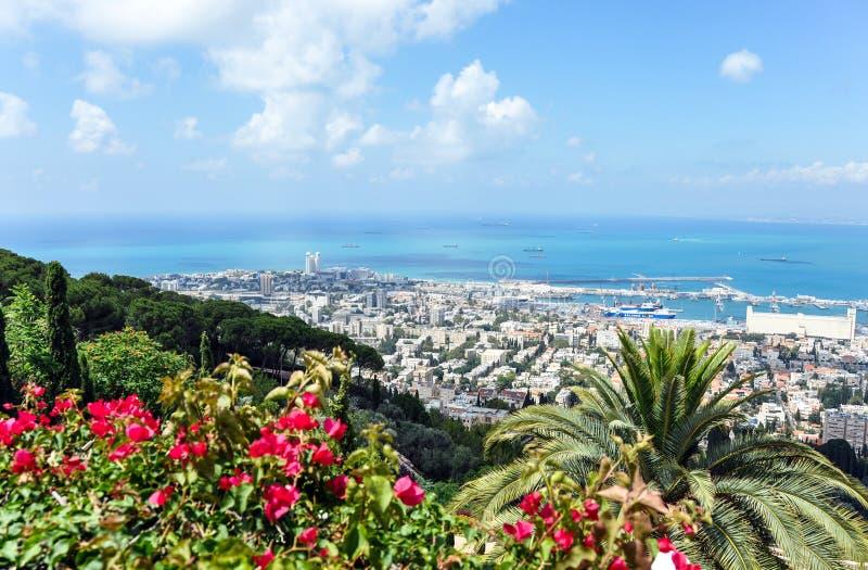 Vista de Haifa do monte fotos de stock royalty free
