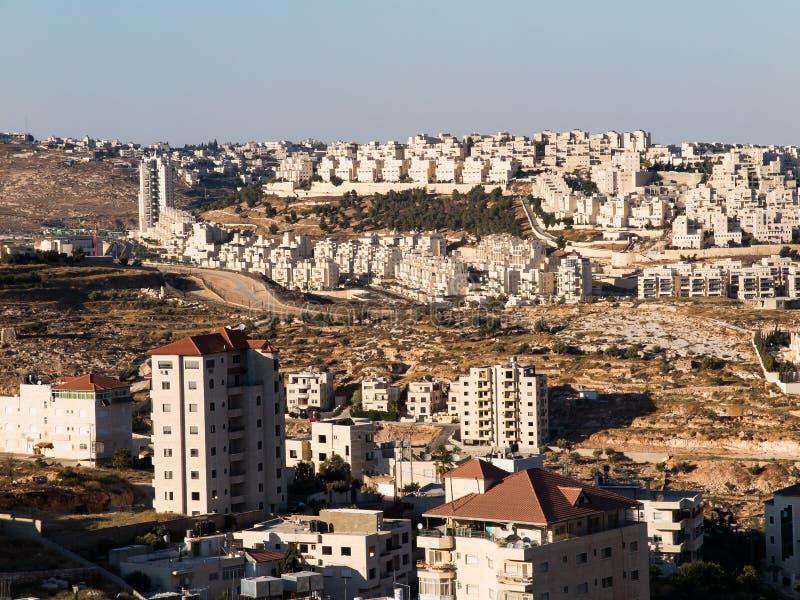 Vista de Har Homa (Homat Shmuel) de Bethlehem 2015 imagem de stock
