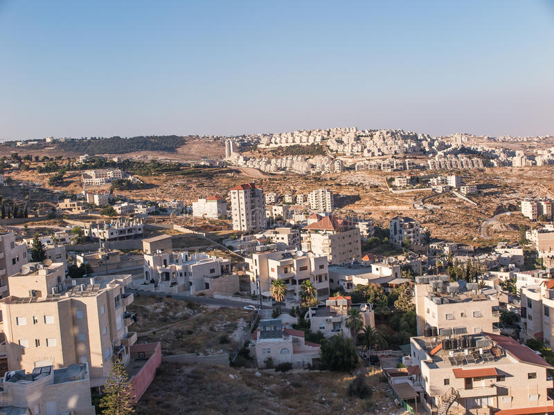 Vista de Har Homa (Homat Shmuel) de Bethlehem 2015 imagens de stock royalty free