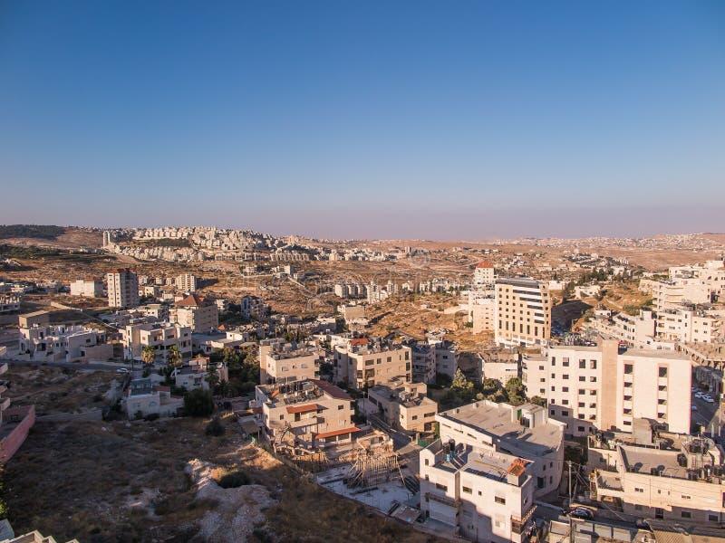 Vista de Har Homa (Homat Shmuel) de Bethlehem 2015 imagem de stock royalty free