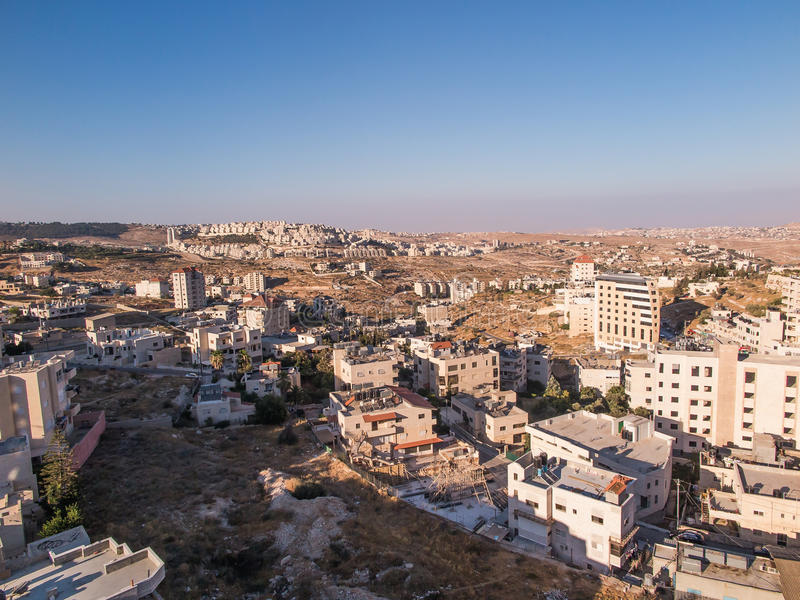 Vista de Har Homa (Homat Shmuel) de Bethlehem 2015 fotos de stock royalty free