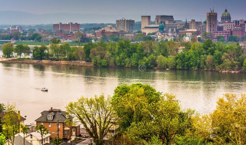 Vista de Harrisburg y del río Susquehanna del parque de Negley, L imagen de archivo