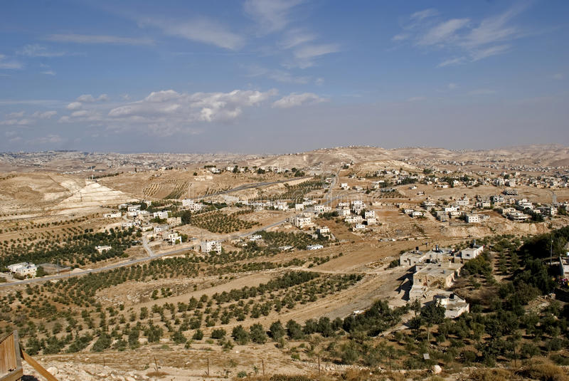 Vista de Herodium, Palestina imagem de stock