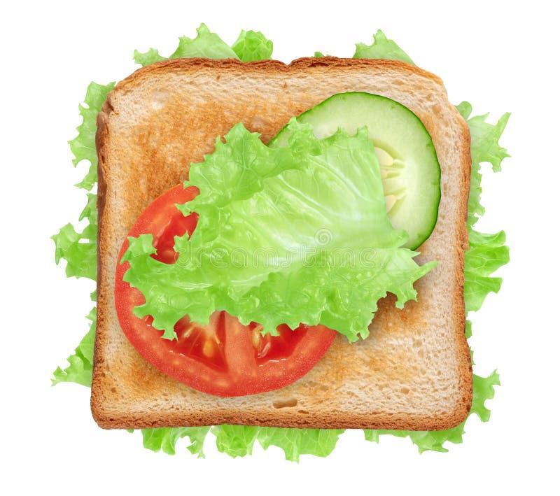 Vista de la azotea de un sándwich vegetal aislado en blanco imagen de archivo