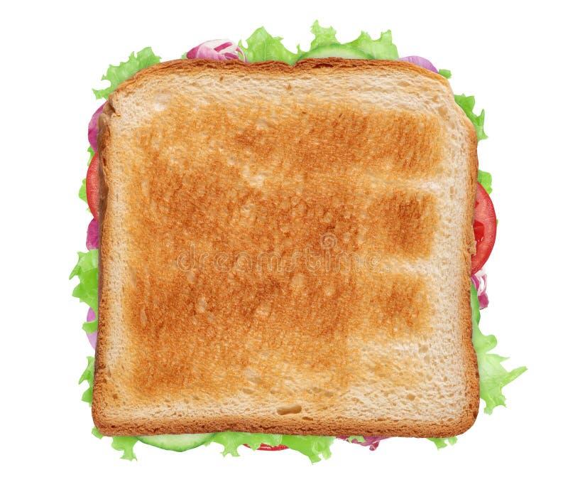 Vista de la azotea de un sándwich vegetal aislado en blanco foto de archivo libre de regalías