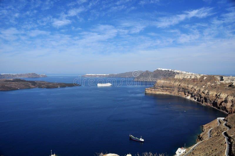 Vista de la caldera de la isla principal del archipiélago de Santorini en Grecia fotografía de archivo libre de regalías