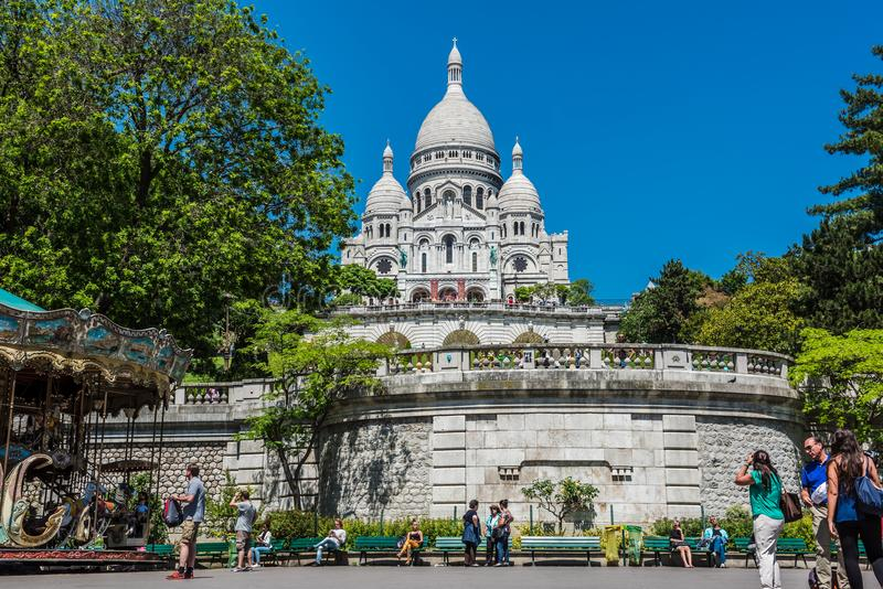 Vista de la catedral de la basílica de Sacre Coeur, Montmartre París fotos de archivo libres de regalías
