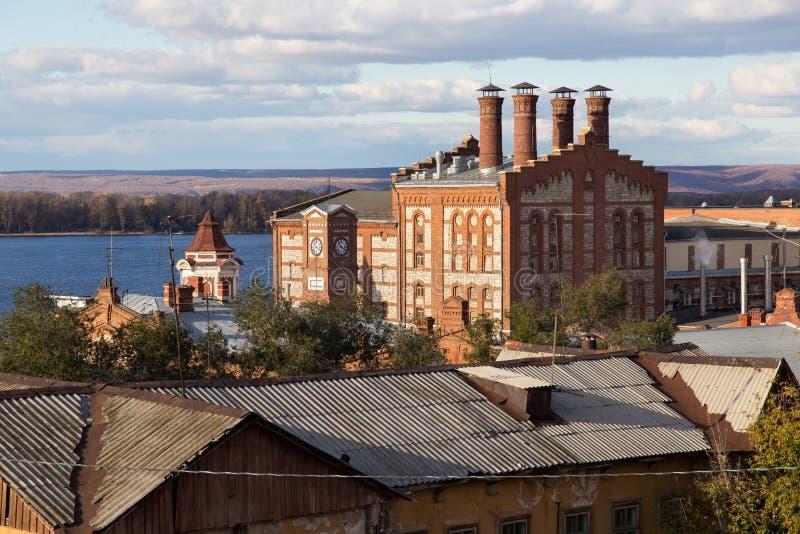 Vista de la cervecería vieja de Zhigulevsky en la ciudad del Samara, Rusia imagen de archivo libre de regalías