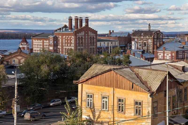 Vista de la cervecería vieja de Zhigulevsky en la ciudad del Samara, Rusia imagen de archivo
