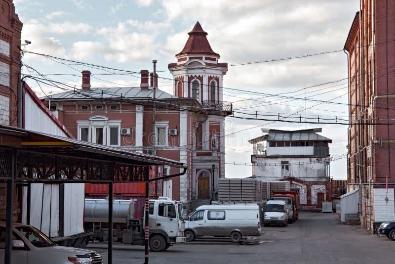 Vista de la cervecería vieja de Zhigulevsky en la ciudad del Samara, Rusia fotografía de archivo