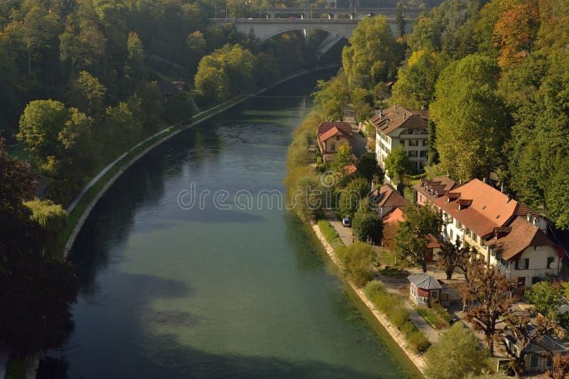 Vista de la ciudad de Berna del puente Suiza fotografía de archivo libre de regalías
