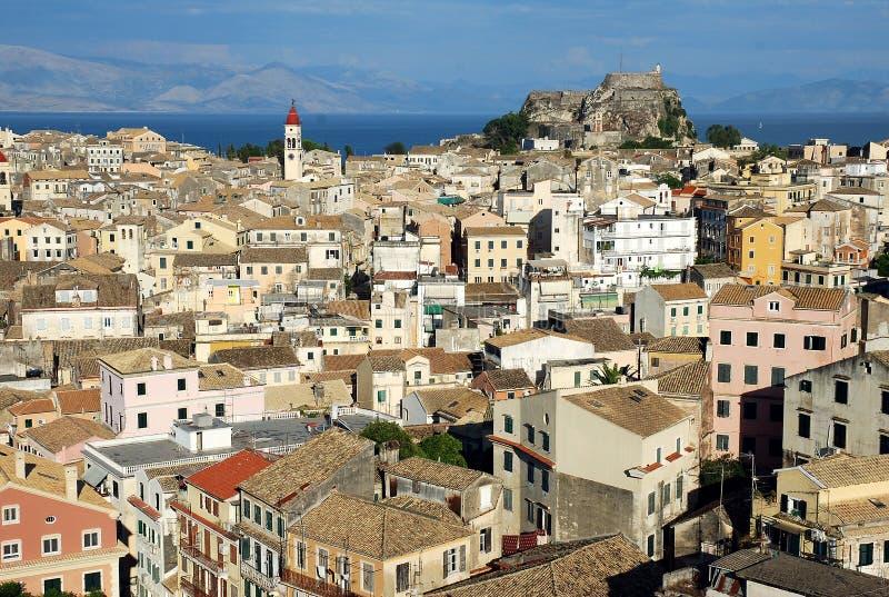 Vista de la ciudad de Corfú imágenes de archivo libres de regalías