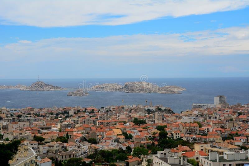 Vista de la ciudad, de la bahía y del ` del castillo francés d si, Marsella, Francia fotos de archivo libres de regalías