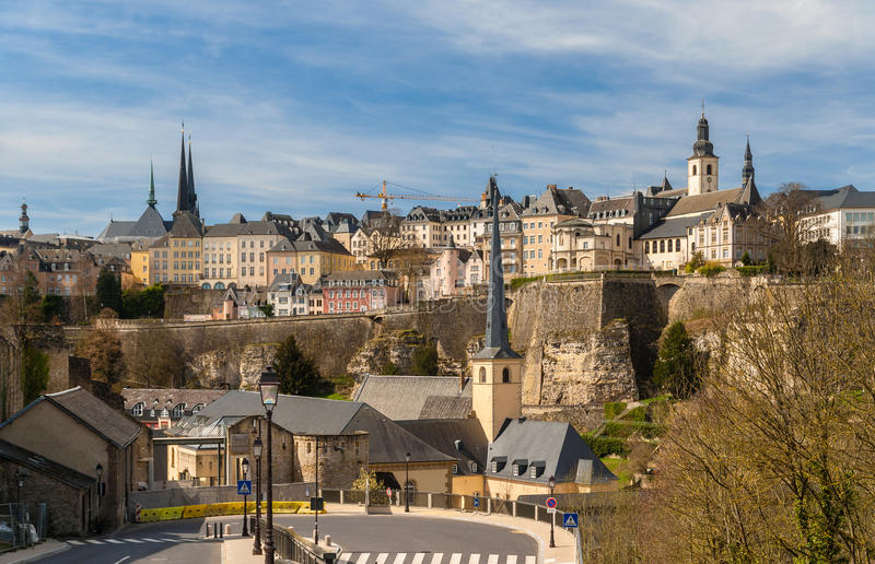 Vista de la ciudad de Luxemburgo, sitio del patrimonio mundial de la UNESCO imagen de archivo