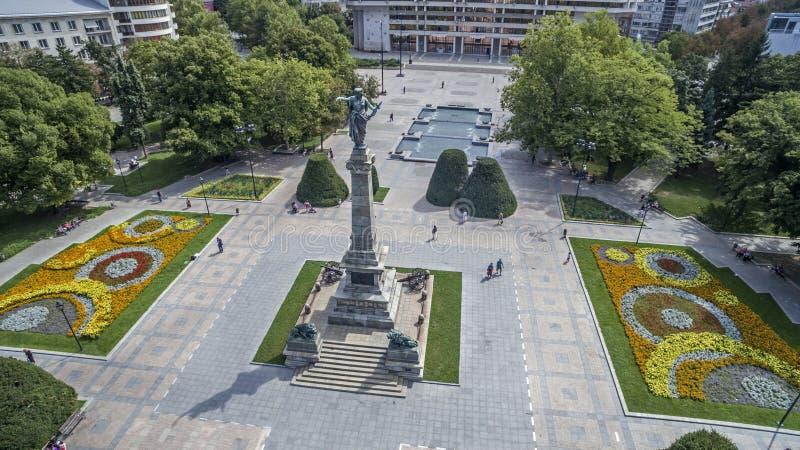 Vista de la ciudad de Ruse céntrica desde arriba foto de archivo