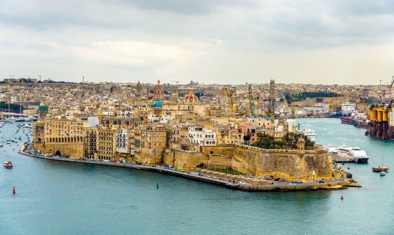 Vista de la ciudad de Senglea - Malta fotos de archivo