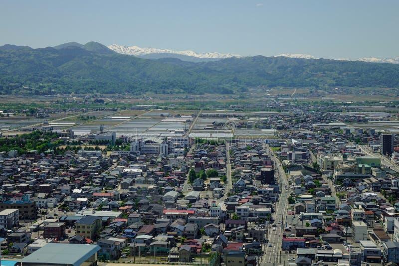 Vista de la ciudad de Yamagata en Tohoku, Japón fotografía de archivo libre de regalías
