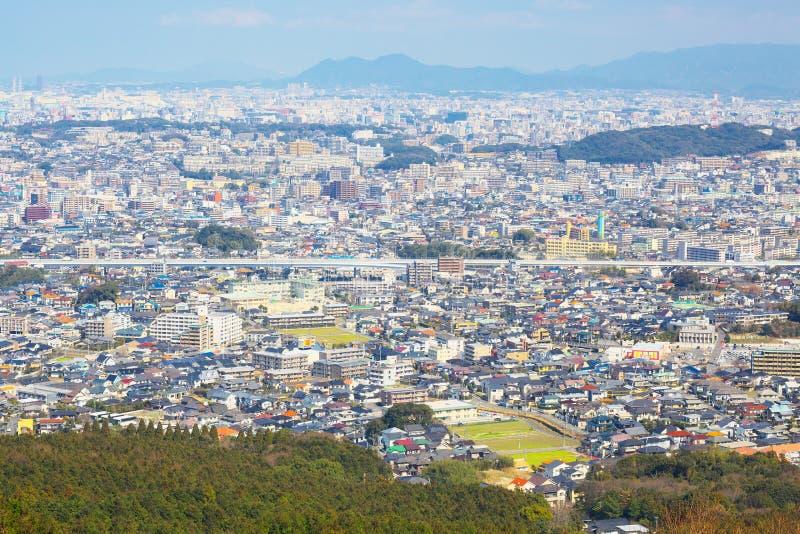 Vista de la ciudad de Fukuoka en Fukuoka, Japón fotografía de archivo