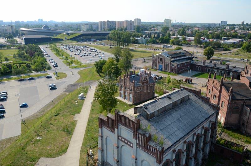 Vista de la ciudad (Katowice en Polonia) fotos de archivo