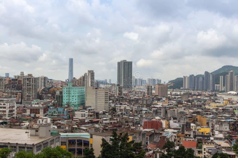 Vista de la ciudad de Macao de la fortaleza del soporte imagen de archivo libre de regalías