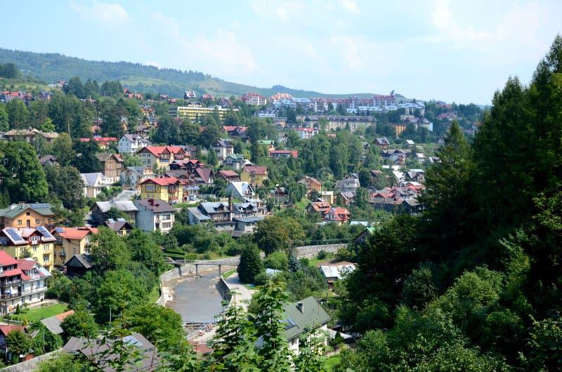 Vista de la ciudad - Szczawnica imagenes de archivo