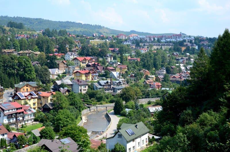 Vista de la ciudad Szczawnica fotografía de archivo