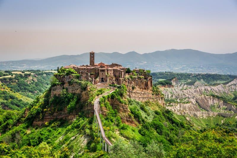 Vista de la ciudad vieja de Bagnoregio imágenes de archivo libres de regalías