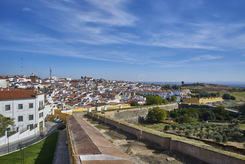 Vista de la ciudad vieja de Elvas, Alentejo, Portugal foto de archivo libre de regalías