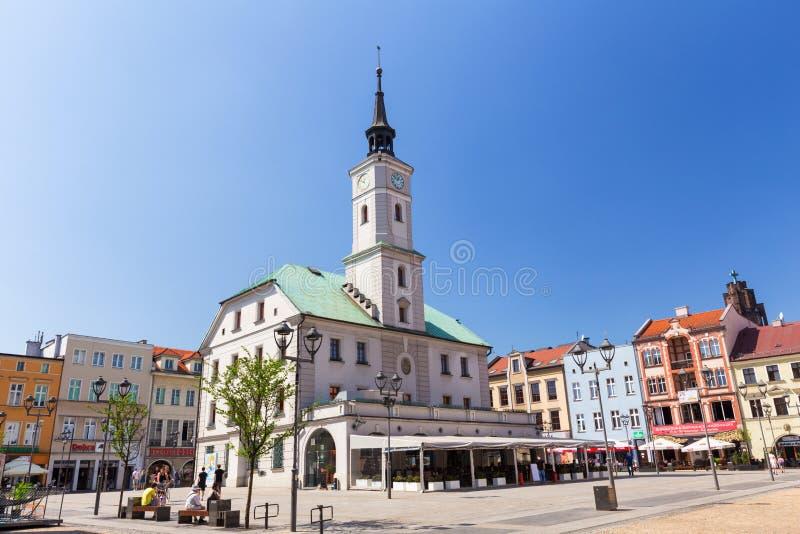 Vista de la ciudad vieja en Gliwice/abril de 2018 imagen de archivo