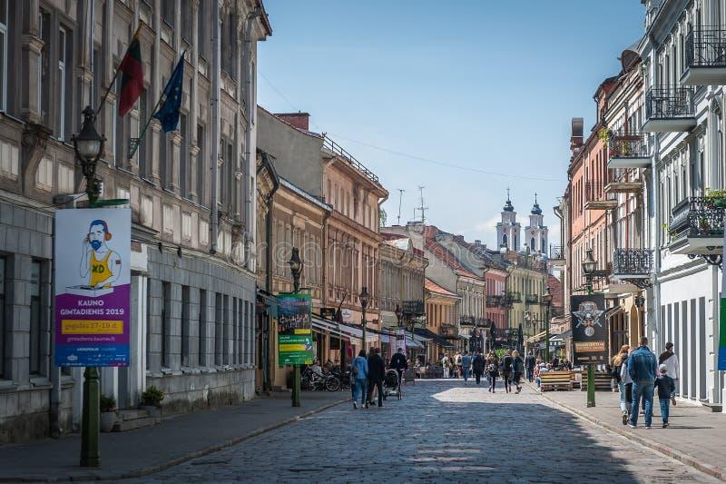Vista de la ciudad vieja de Kaunas fotos de archivo libres de regalías