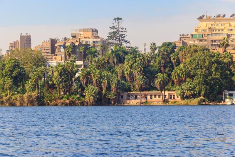 Vista de la ciudad y del río Nilo de El Cairo en Egipto imagen de archivo libre de regalías