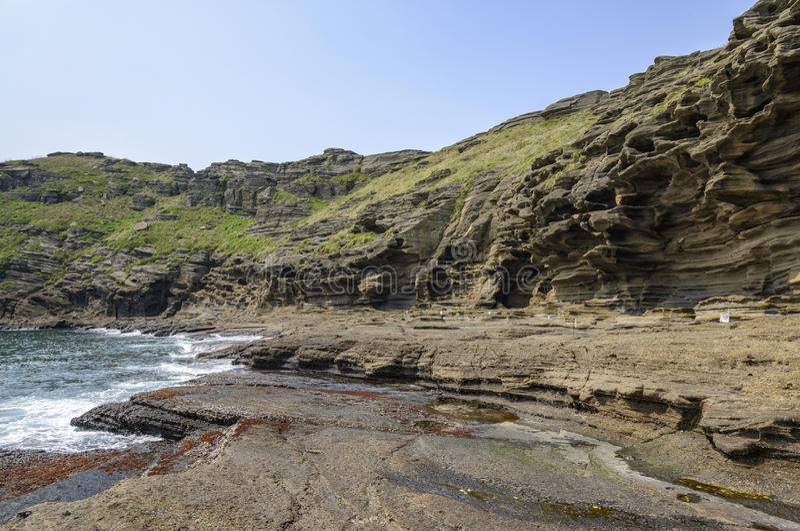 Vista de la costa de Yongmeori en la isla de Jeju foto de archivo libre de regalías