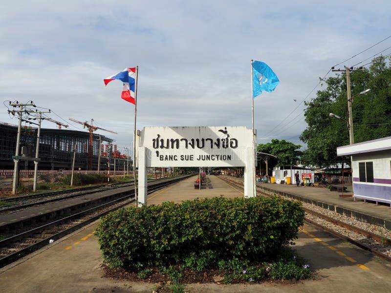Vista de la estación de tren de Bangsue fotos de archivo