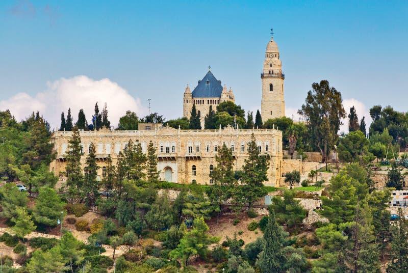Vista de la iglesia de Dormition, Jerusalén, Israel imagenes de archivo