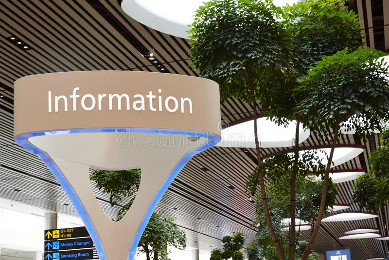 Vista de la información, aeropuerto internacional de Singapur Changi imágenes de archivo libres de regalías