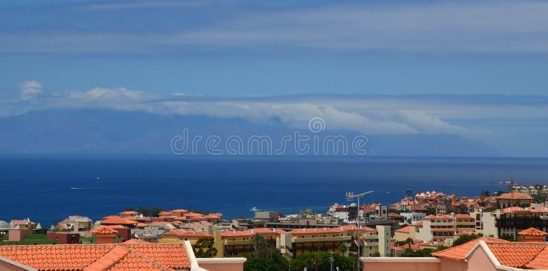 Vista de la isla de Gomera del La, Tenerife, islas Canarias foto de archivo