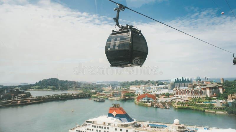 Vista de la opinión de Singapur de la isla de Sentosa de Sentosa Singapur foto de archivo
