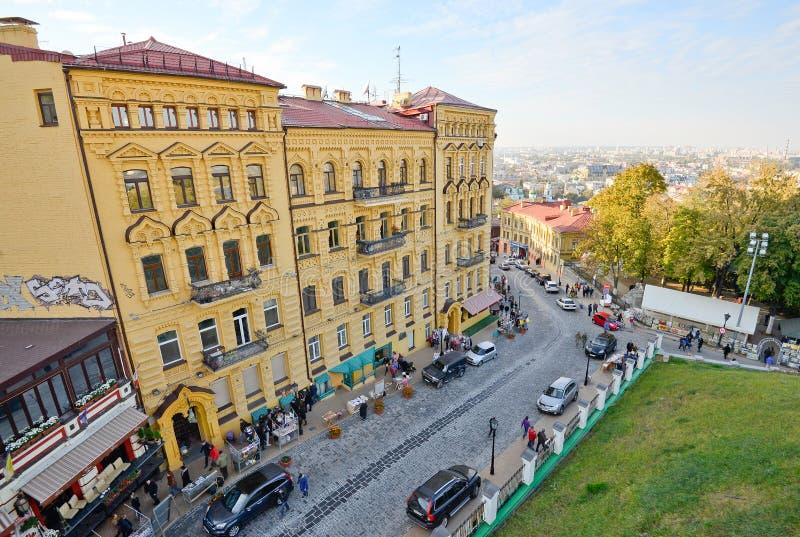 Vista de la pendiente de Andriyivskyy en Kiev foto de archivo
