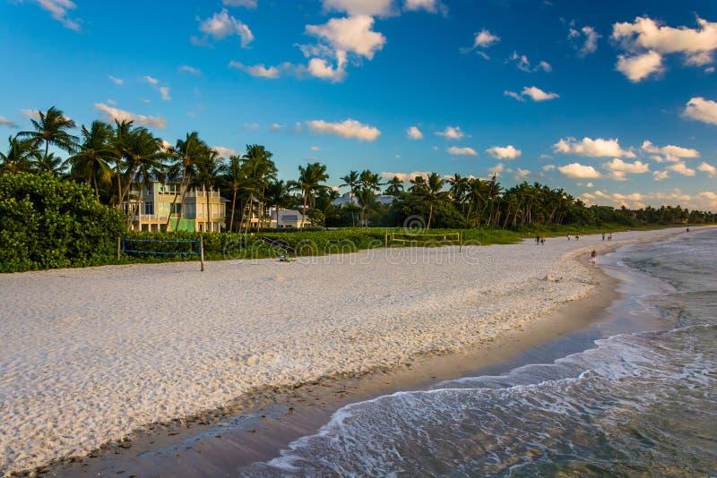 Vista de la playa del embarcadero de la pesca en Nápoles, la Florida foto de archivo