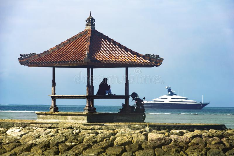 Vista de la playa en Bali, Indonesia de Tanjung Benoa fotos de archivo