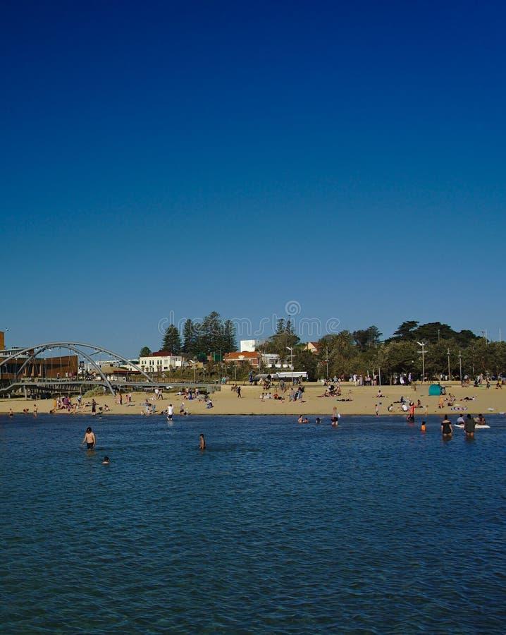 Vista de la playa de Frankston el sábado fotografía de archivo