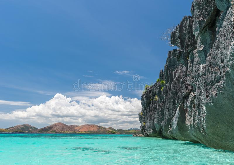 Vista de la playa de la isla de Coron, Filipinas fotos de archivo libres de regalías