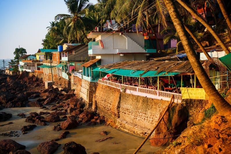Vista de la playa por la tarde, Goa, la India de Arambol imágenes de archivo libres de regalías