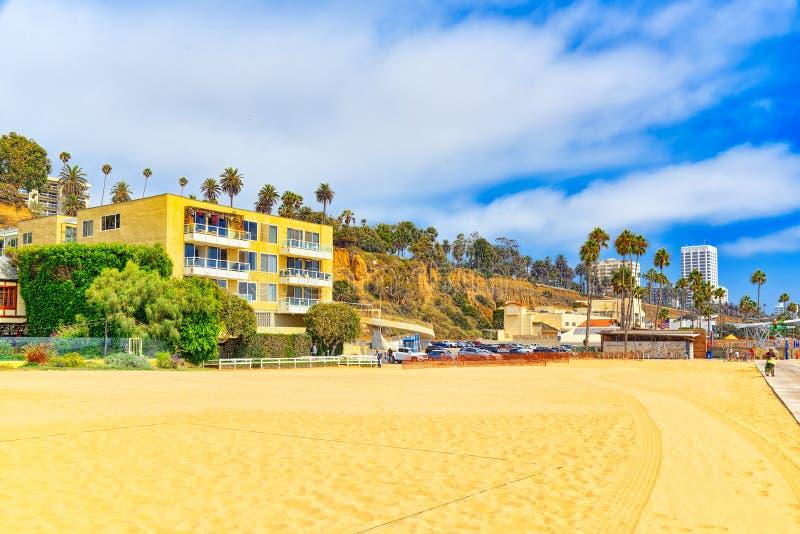 Vista de la playa de Santa Monica y del Océano Pacífico Suburbios de Los Angeles fotografía de archivo