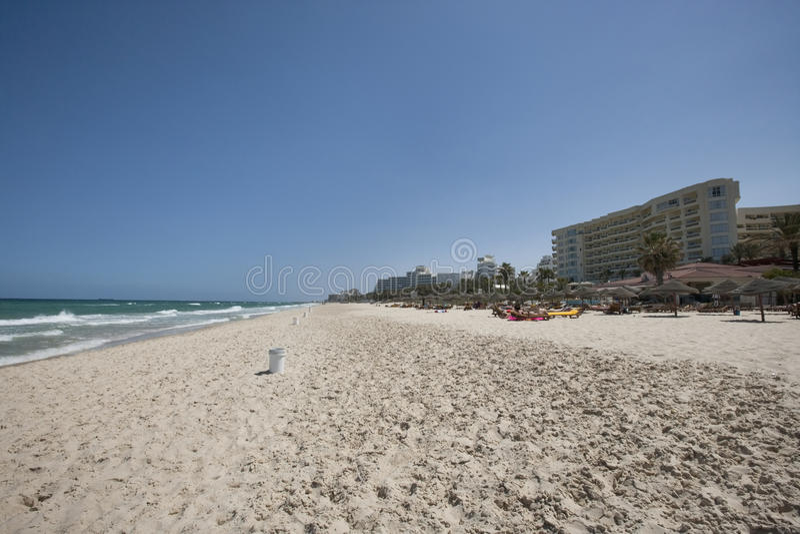 Vista de la playa, Sousse, Túnez foto de archivo libre de regalías