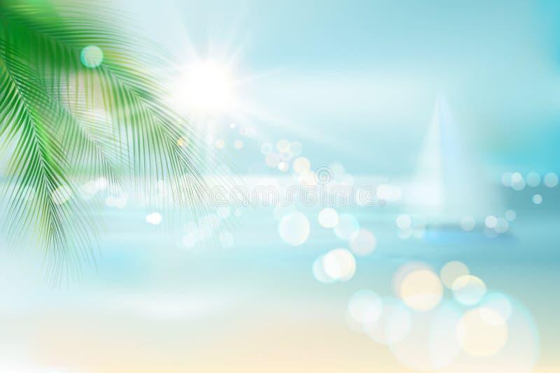 Vista de la playa tropical Ilustración del vector ilustración del vector
