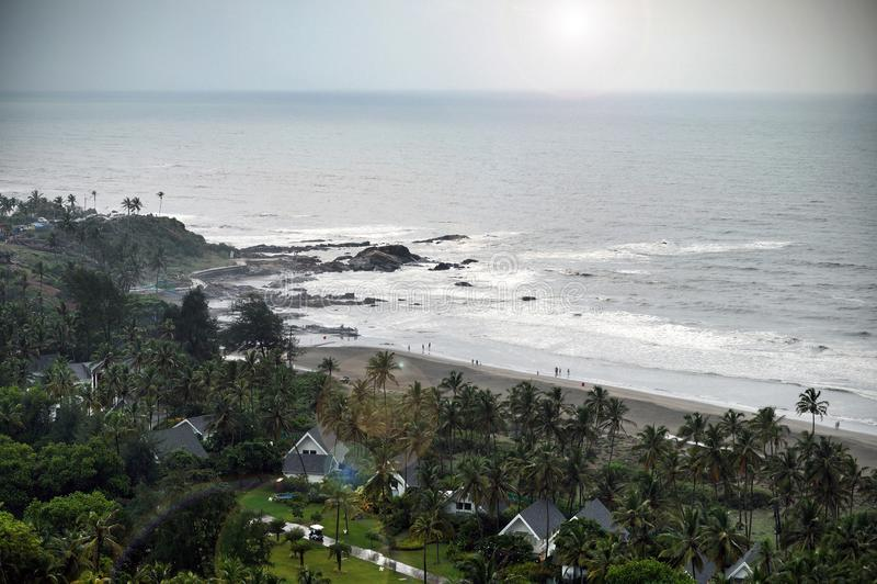 Vista de la playa de Vagator, Goa imagenes de archivo