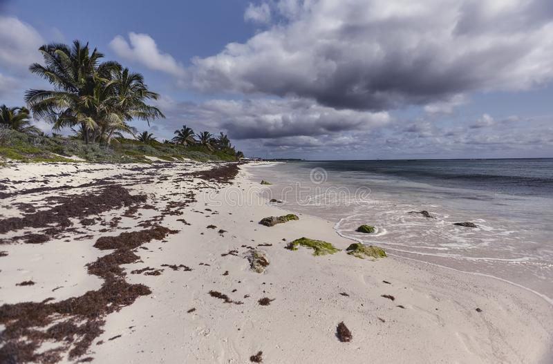 Vista de la playa Xpu-ha imágenes de archivo libres de regalías