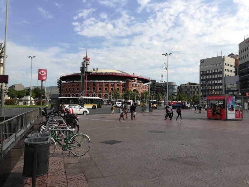 Vista de la plaza de la arena de la tauromaquia del ith de Barcelona foto de archivo
